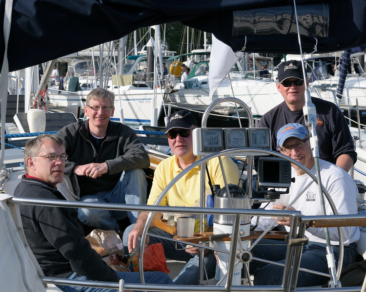 "Five sixths of the ""Gail Force"" crew (L to R) Warren Brown, Don Schroder, Don Lowe, Andy Casale (front), Wayne Mitchell (back), Tom Gehringer (AWOL)<br /> Photo by Paul Kuhn"