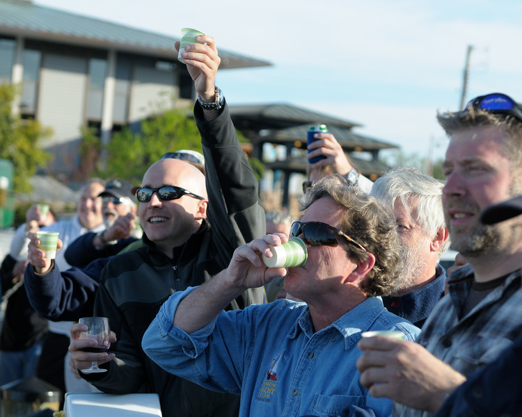 "Unable to wait, Paul Kuhn downs his drink while Dave Warfel and others toast ""The Boat Formerly Known as Edelweiss"""