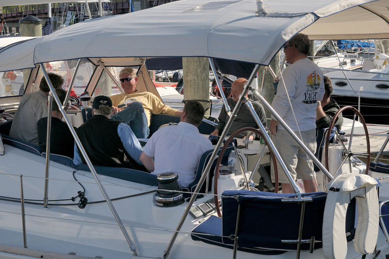 """Jim Gdowik, Captain of """"White Pearl,"""" holds court."""