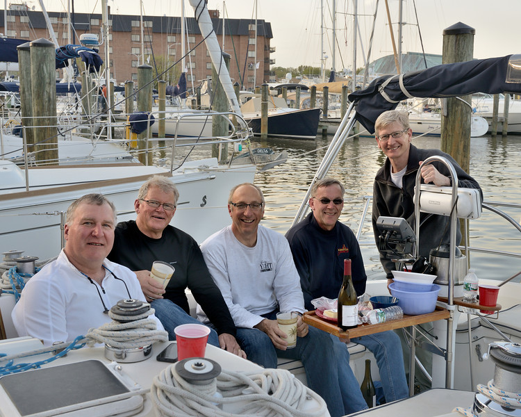 """Crew of """"Gail Force"""" (l to r Capt Don Lowe, Wayne Mitchell, Andy Casale, Warren Brown and Don Schroder)"""