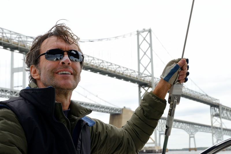 Thomas Normoyle with the Bay Bridge