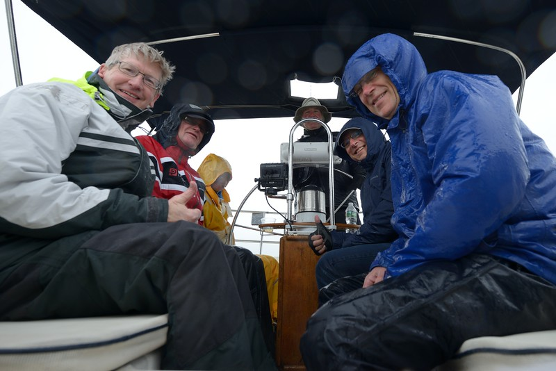 Crew of Gail Force on a Wet Ride Home on Sunday