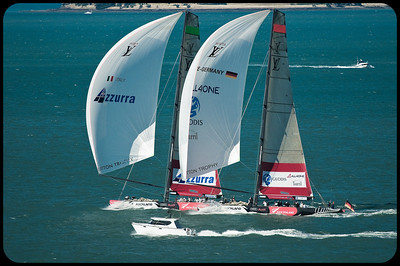 Both yachts reaching hard as All4One tries to roll over Azzura