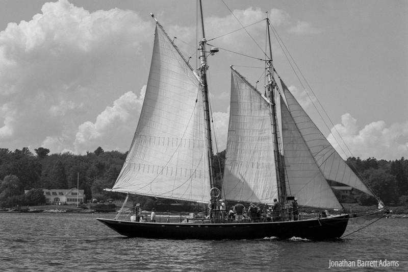 Schooner Alert passing  Menikoe Haven