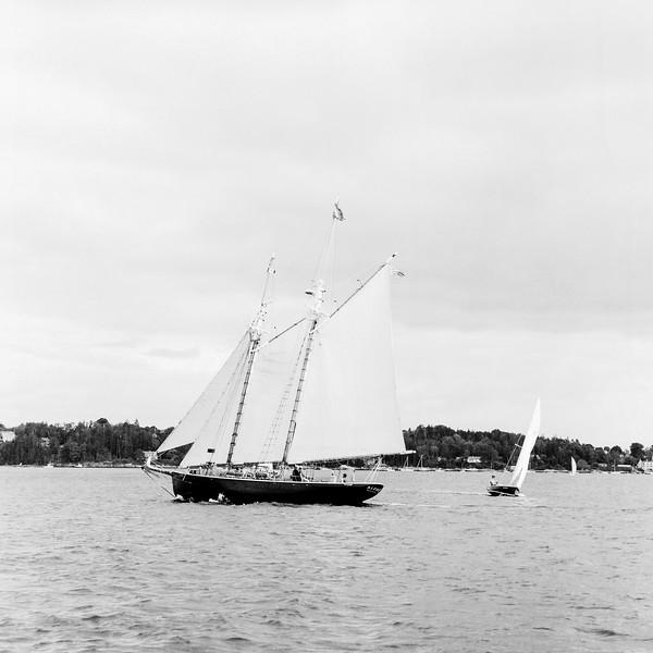 The Schooner 'Alert' Sails Past