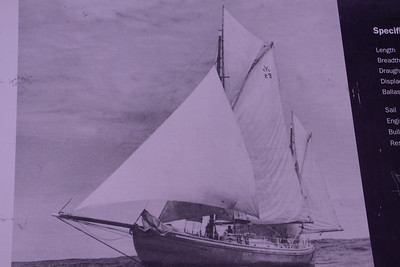 "The ""Kathleen Gillett"", a gaff tops'l ketch l sailed by Mr. Jack Earl and crew, circa 1948."