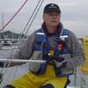 Captain John backing us out of Shilshole.