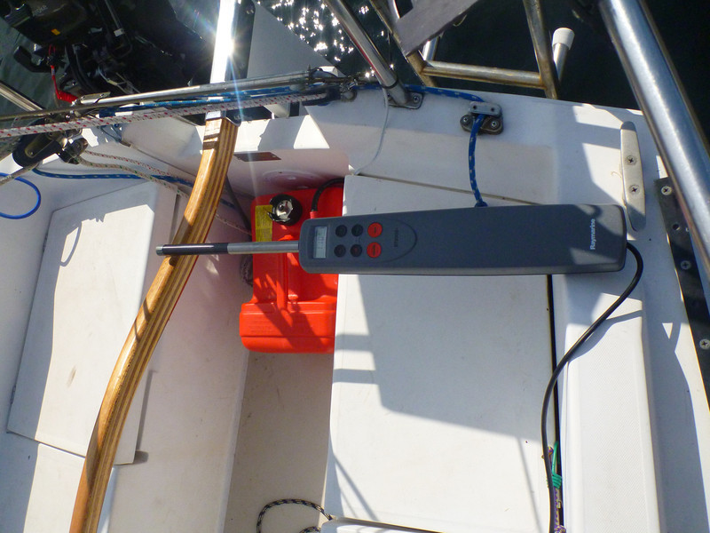 """Top view.  The pin is about 16"""" forward from the pivot point of the rudder."""