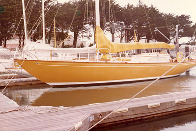 "Dad's dream yacht, the  Columbia 50, ""Yellowbird"".  A beautiful sloop, designed by William Tripp; here at the St. Francis Yacht  Club, early 1970s."