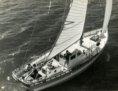 "Mr. Wilf and Mrs. Olive Buckland's ""Marco Polo"", 40 ft motorsailer."