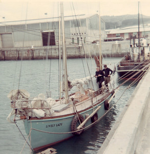 "We happened to be in Invercargill when Mr. (later, Sir) Alec Rose called in on his circumnavigation in the ""Lively Lady""."