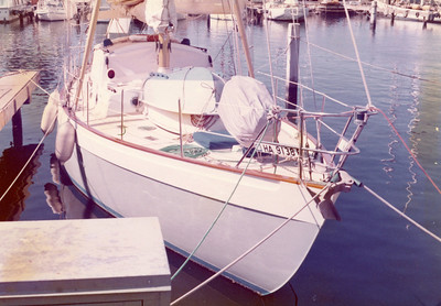 "Mr. John Guzzwell built this goodly ship and named her the ""Treasure""; I think a Laurent-Giles design, written up in ""The Proper Yacht"".   Note storage for two dinghys on the foredeck; twin forestays, and no roller furling gear."