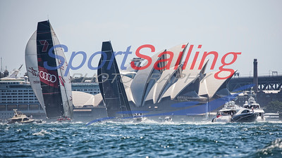 Wild Oats XI, Black Jack - at the finish line - SOLAS Big Boat Day 2017
