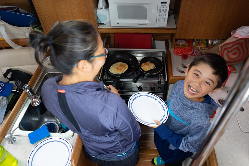 Bryce and Becca made pancakes while we were underway.