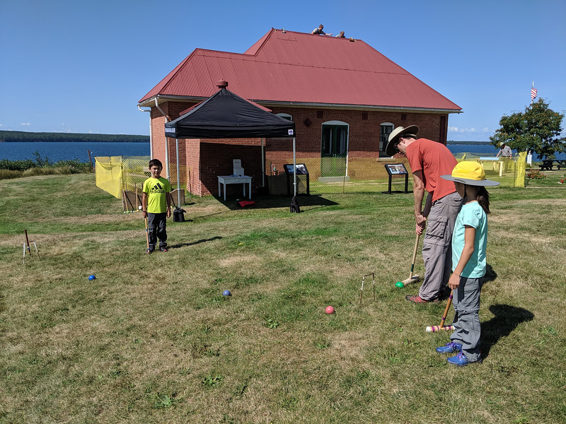 We played a game of croquet after touring the lighthouse!