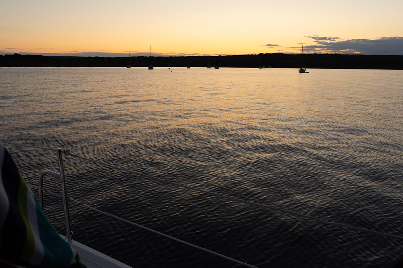 The sun sets on our first night. Hopefully the anchor is set well! It can be a bit nerve-wracking as one tries to sleep as if the anchor were to drag at all the boat could quickly run aground.