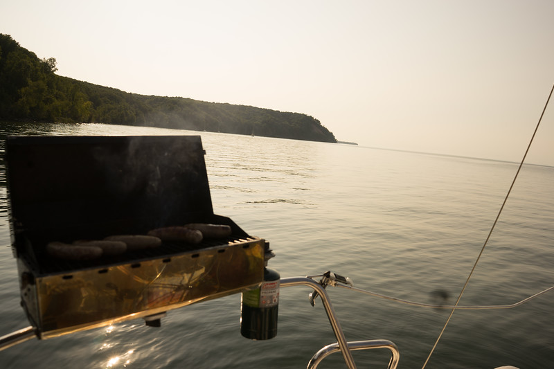 Here we are anchored for the evening on the north side of Oak. We grilled up some brats!