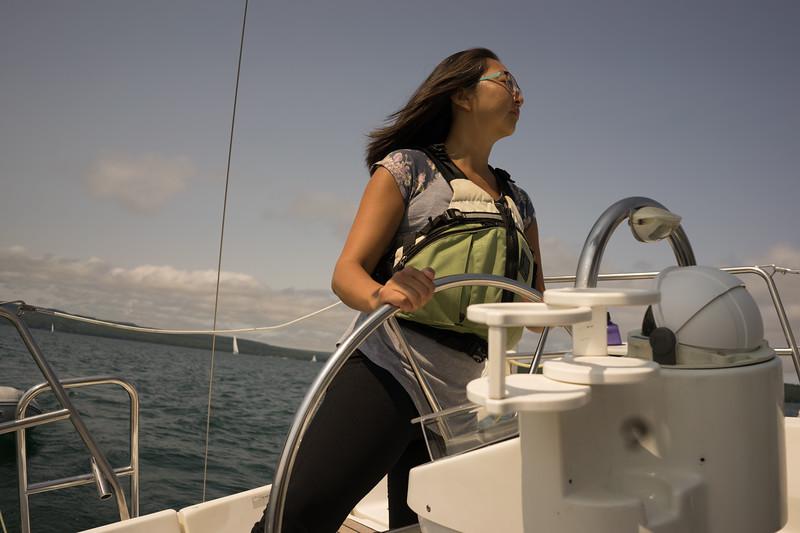 We tacked our way upwind along the length of Madeline Island towards Stockton Island.