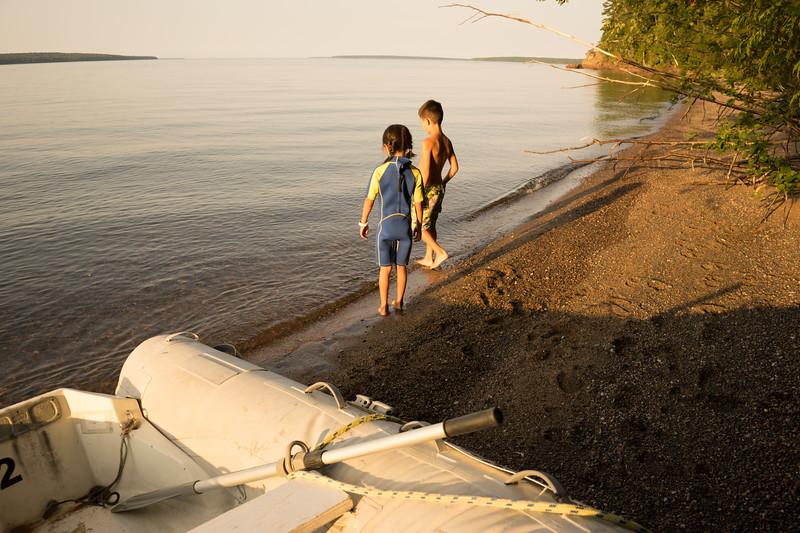 I took the kids ashore and we explored the beach.