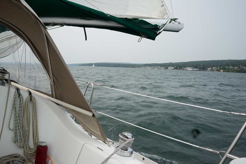 We sailed right on by Bayfield and onwards to Pike's Bay Marina in 15 knot winds. We executed a few well controlled jibes and carefully planned out how to lower the sails in the strong winds so we could motor into the marina under power. We docked the 32' boat in the slip with no issues!