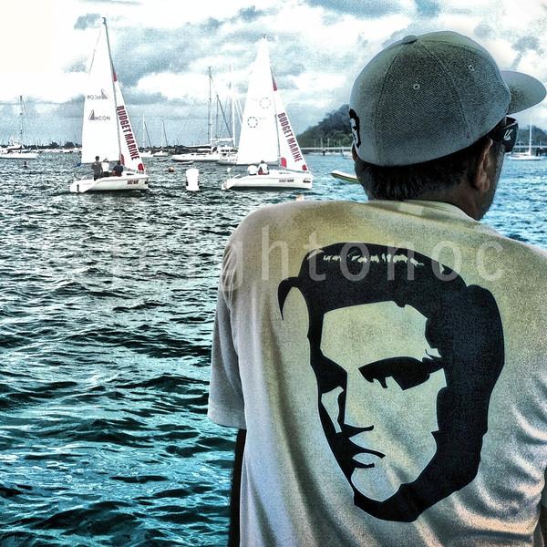 Guess who has Elvis' back at Budget Marine Match Racing @sxmheineken @budgetmarine @stmaarten_tweet #sxm @sxmlocal #sailing #regattas #racing