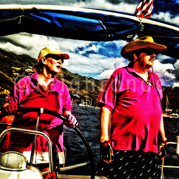 Alice Martin & Ted Jones She can drive! 37 miles  to go for Nanny Cay Cup @springregatta @britishvirginis #bvi #bvisr13 #ilovethebvi