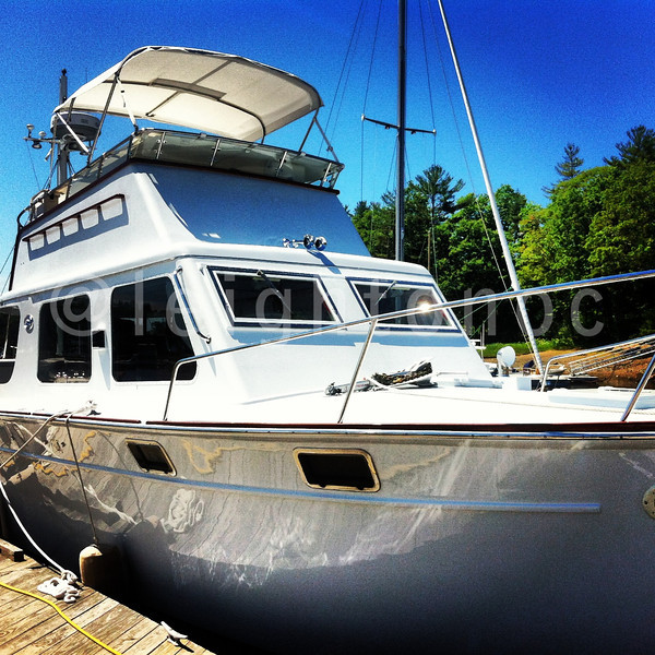 Today's sweet model. 1951 40' rear aft Huckins. 3 year rebuild at Crocker's in Manchester. Who needs a new yacht?