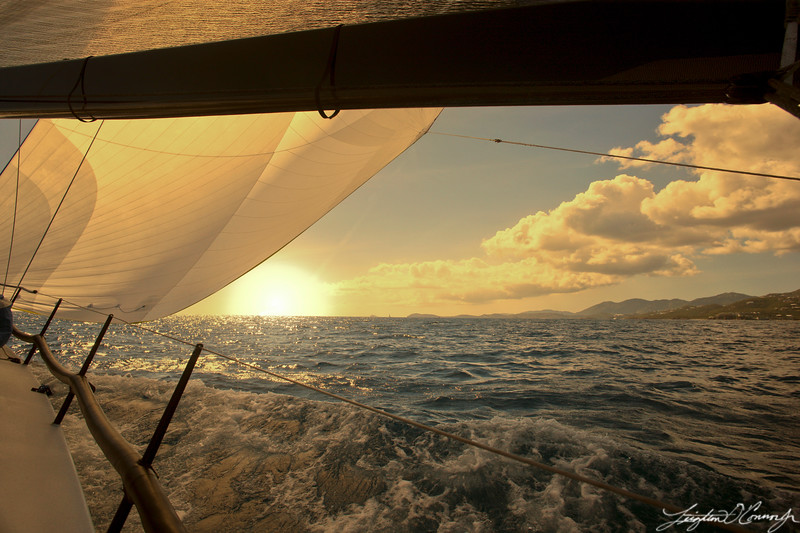 Boat sailing in the ocean.