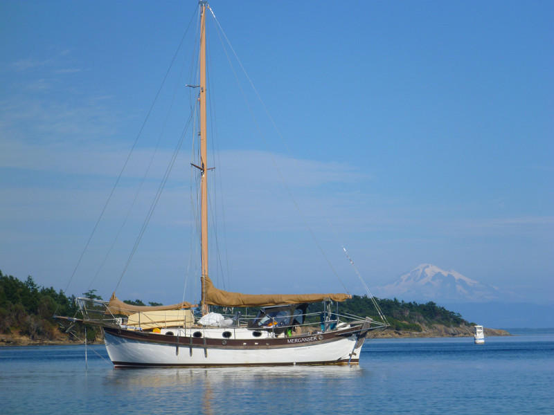 We've seen this cutter multiple places in the islands, I think it's beautiful.  Mt Baker in the background.