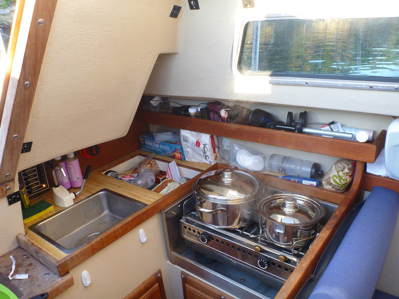 Our boat's tiny galley has been turning out good meals this whole trip.  Here we are making zucchini and tortellini.