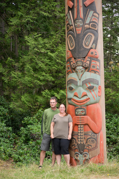Posing with the totem pole
