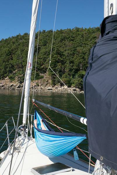 Hammocking on the sailboat.