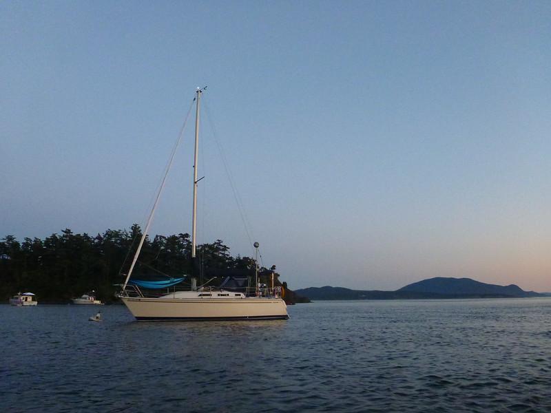Our boat, mooring ball, Fox Cove, Sucia