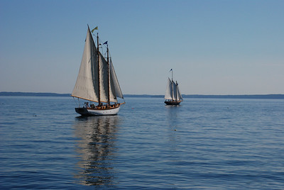 two schooners on the calm sea
