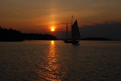 A schooner in the sunset
