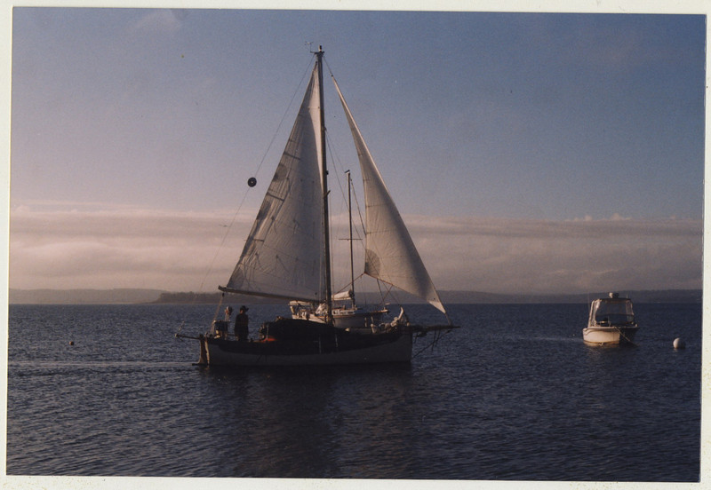 "Casco Bay 2003.  Falmouth cutter ""New Salt"" northeast of Little Chebeague Island.<br /> [photo: Mary Ellen Alicandri]"