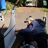 Shemaya scraping excess caulk