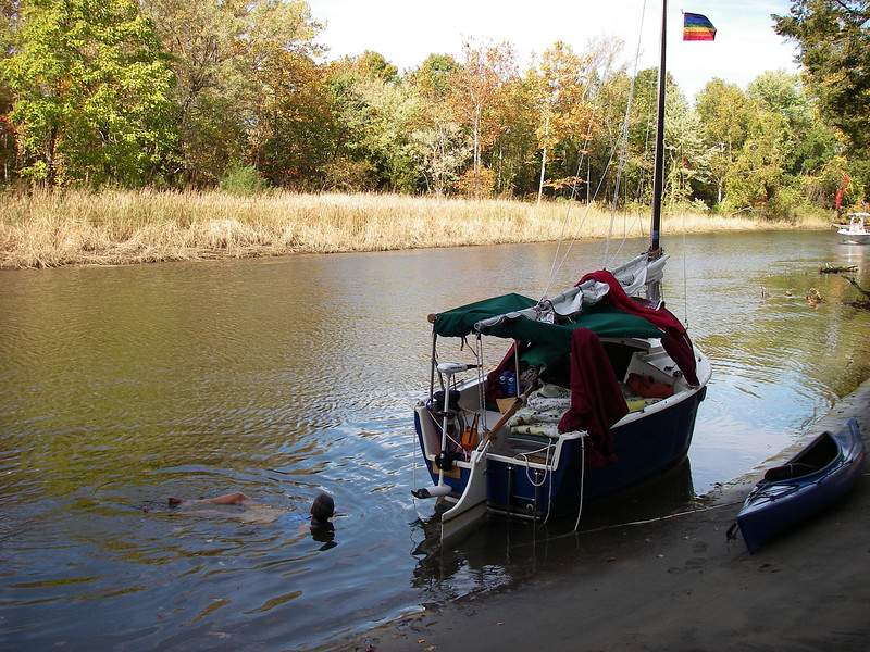 swimming on October 22!  Note Muppet pirate flag, also helping us avoid getting clobbered by duck hunters...