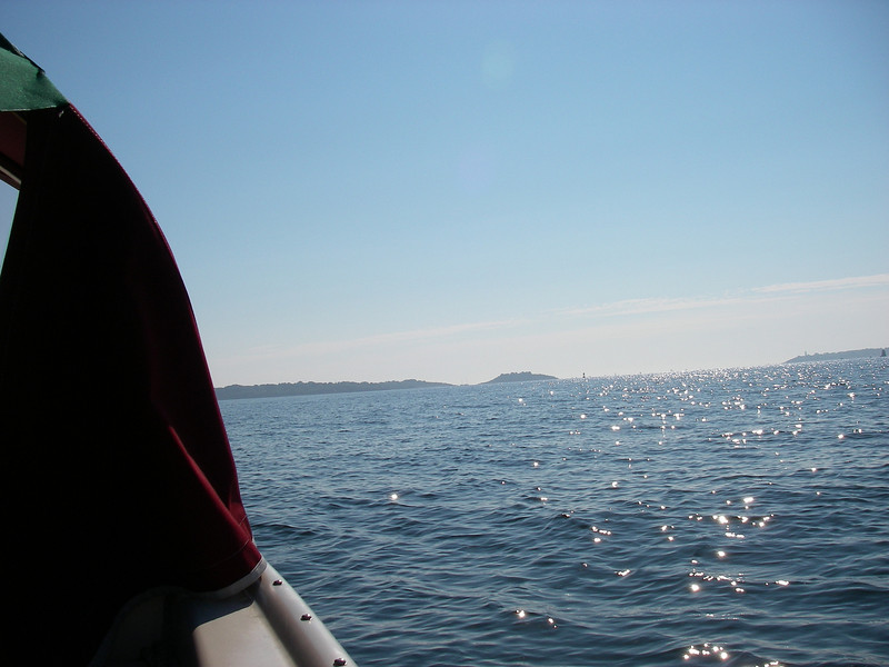 out of the Danvers River, islands off of Manchester in the distance.
