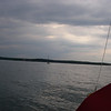 "Judy in her boat, ""Joelara"",  where we settled for the night near Griswold Island, Niantic."