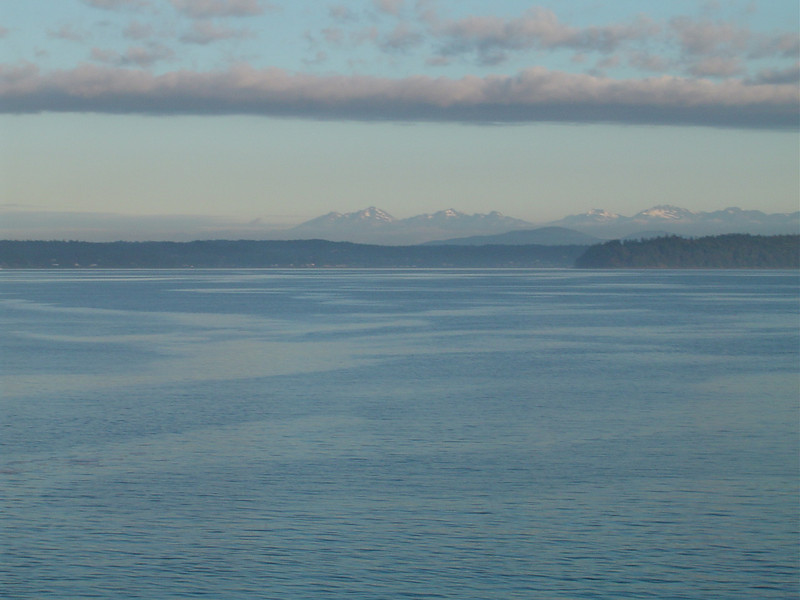 Early morning on the West Seattle Ferry looking toward the Olympic Mountains.
