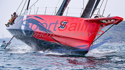 Comanche practising for the Rolex Sydney to Hobart Yacht 2019