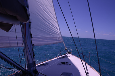 Heading due east.  Wide foredeck on the Jeanneau 53.