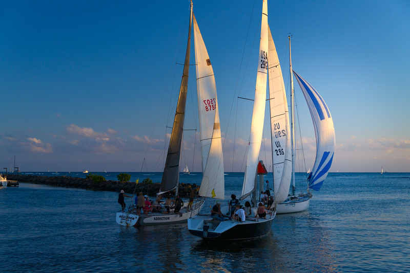 Trio of Sailboats