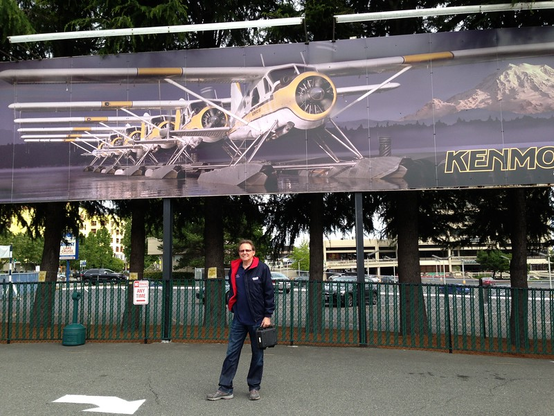 7-10-16 John at Kenmore Air on Lake Union for the flight to Vicotoria, Canada. One night in a hotel and then the race starts for the Atalanta!