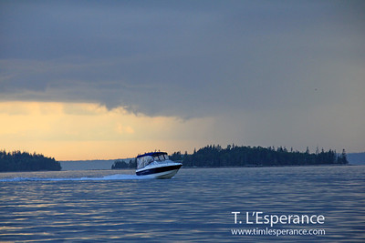 Coming in before the storm... electric blue evening on St. Margaret's Bay, NS.
