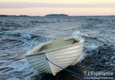 Dancing Dinghy with Shut In island in the background on the horizon, St. Margaret's Bay, NS.