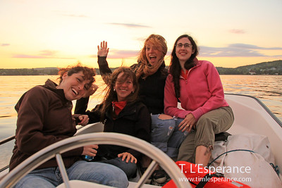 Many ladies on a Boston Whaler sunset cruise.