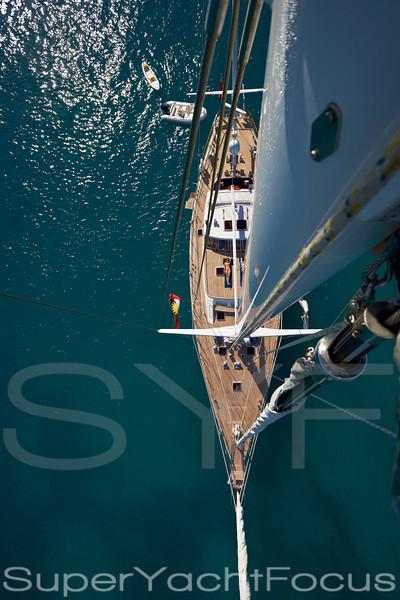 Sailing yacht from masthead