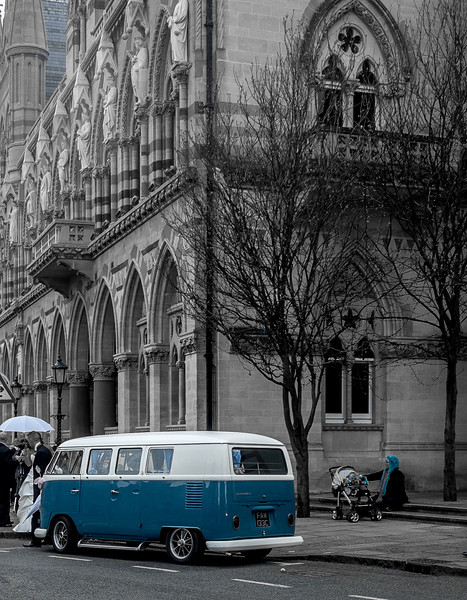 Camper van outside the Guildhall, Northampton